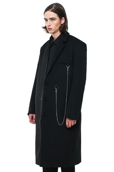 [sold out] half lapel utility chain long coat black