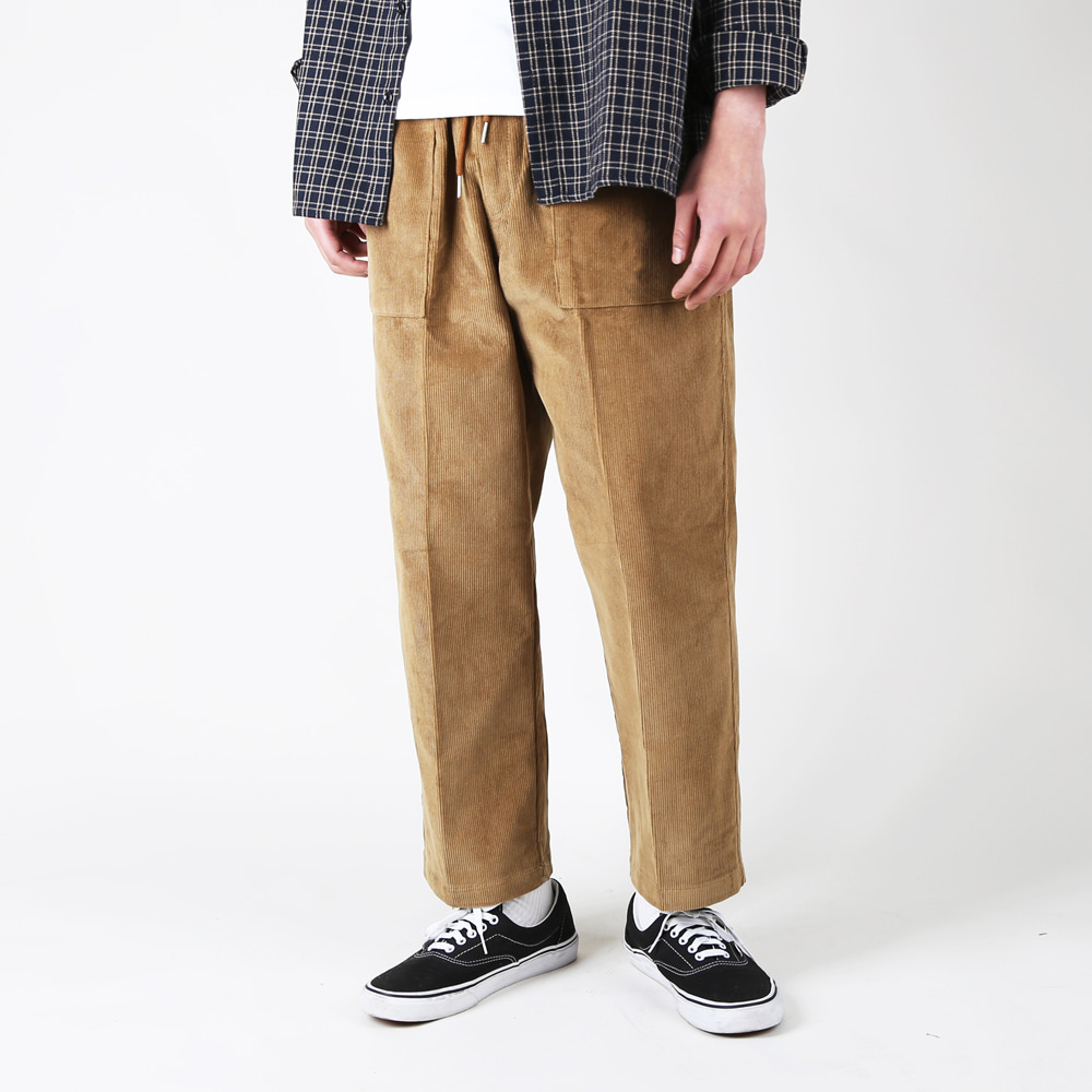 WIDE CORDUROY BROWN CROP BAND PANTS