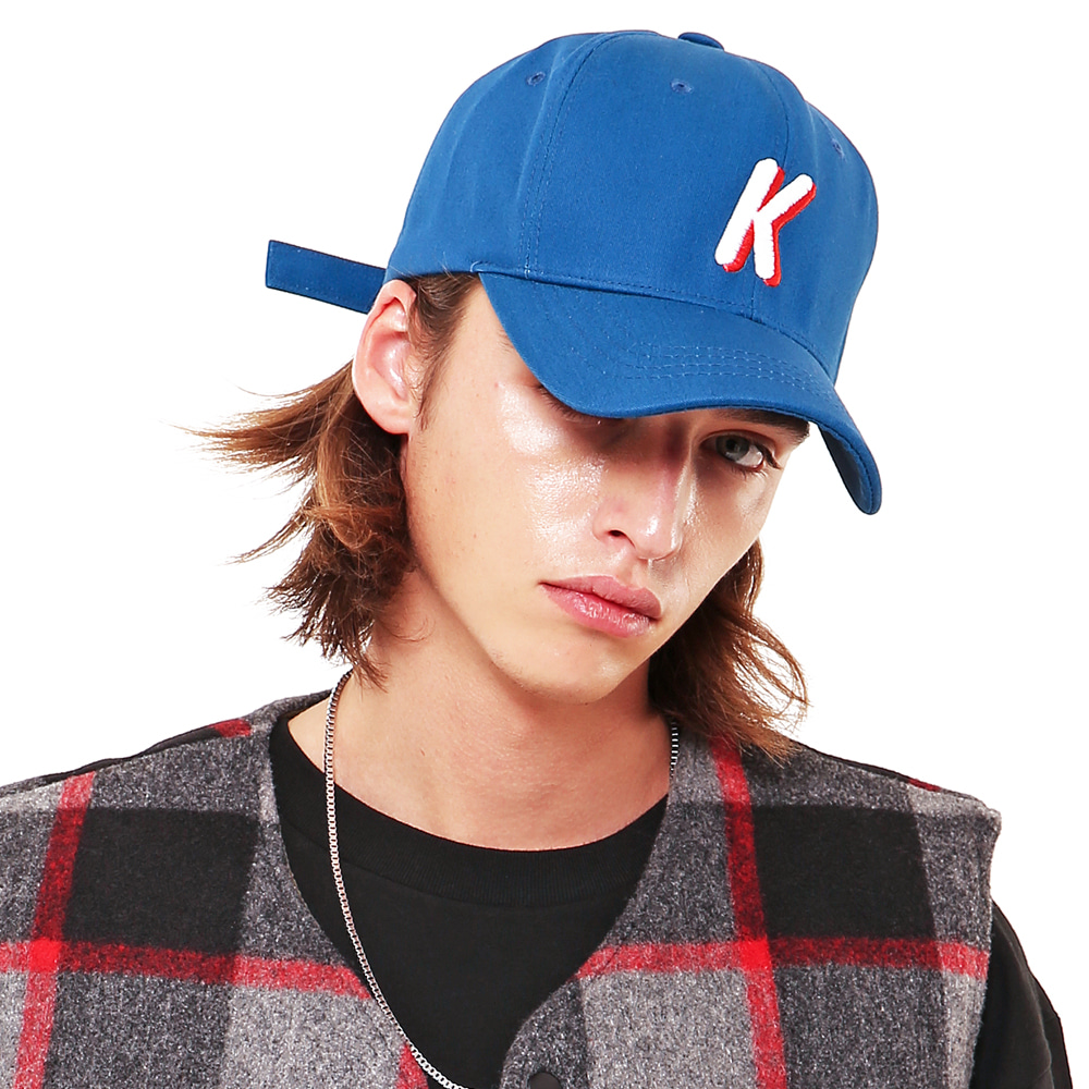K LOGO TWILL COTTON CAP BLUE