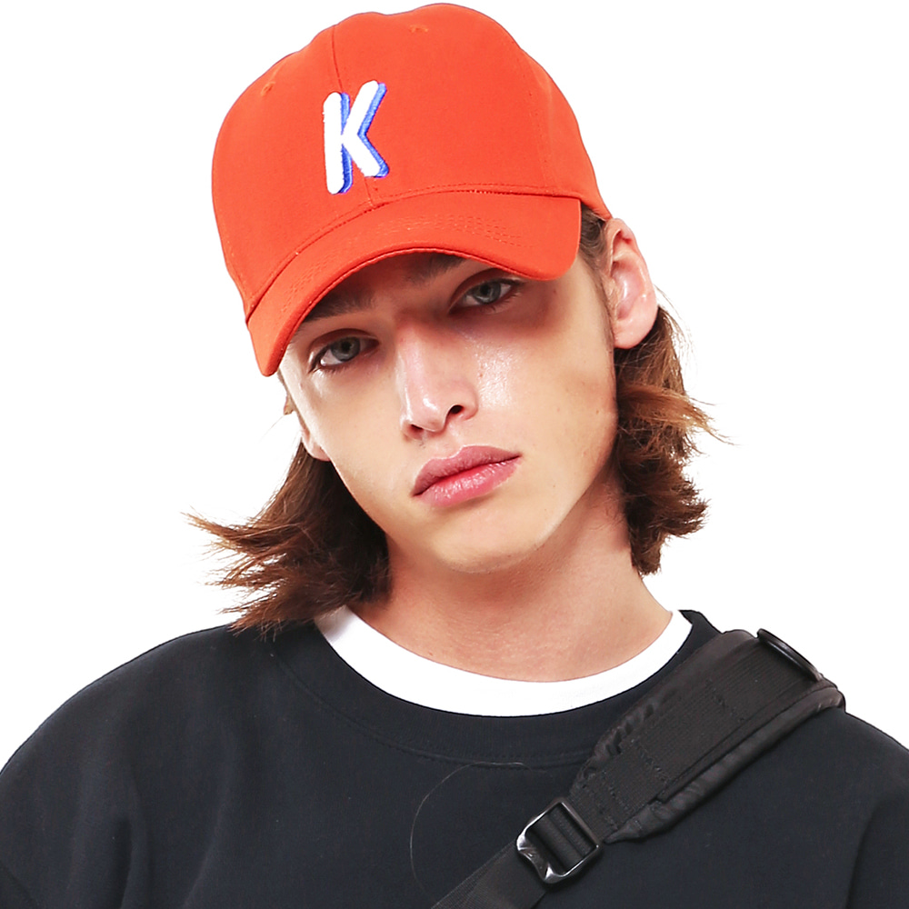 K LOGO TWILL COTTON CAP ORANGE