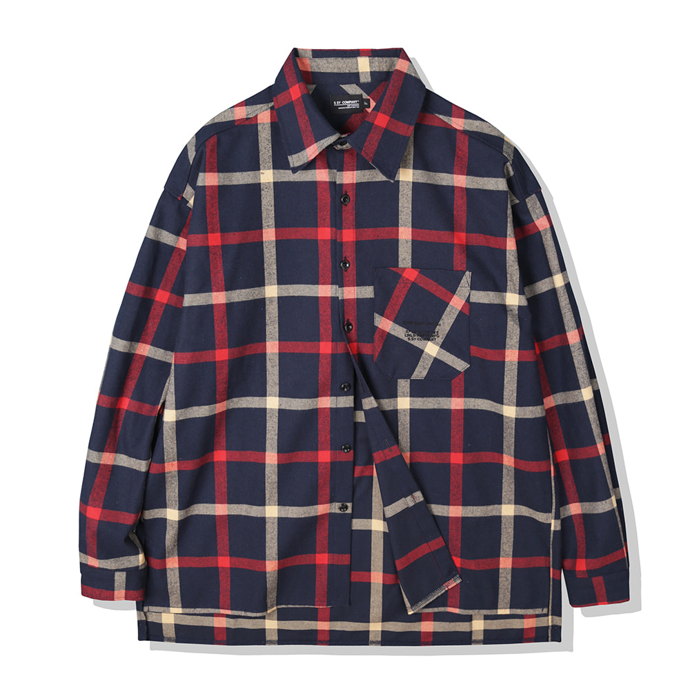 NAVY OVERSIZE PLAID SHIRTS