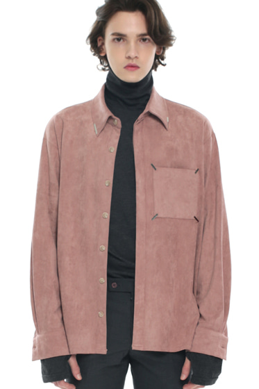 collar & pocket hand work iron tip shirt pink