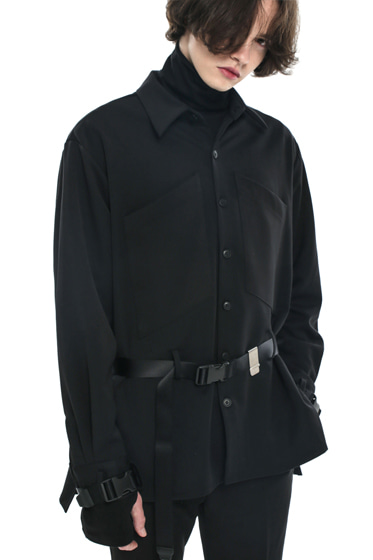 webbing belt transpocket shirt jacket black
