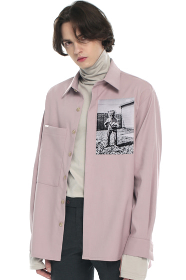 halloween boy pocket tip shirt pink