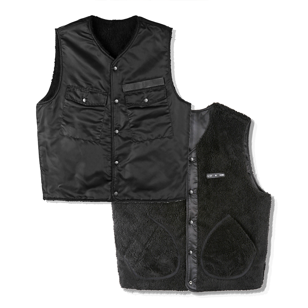 BOA FUR REVERSIBLE MILITARY VEST-K BK