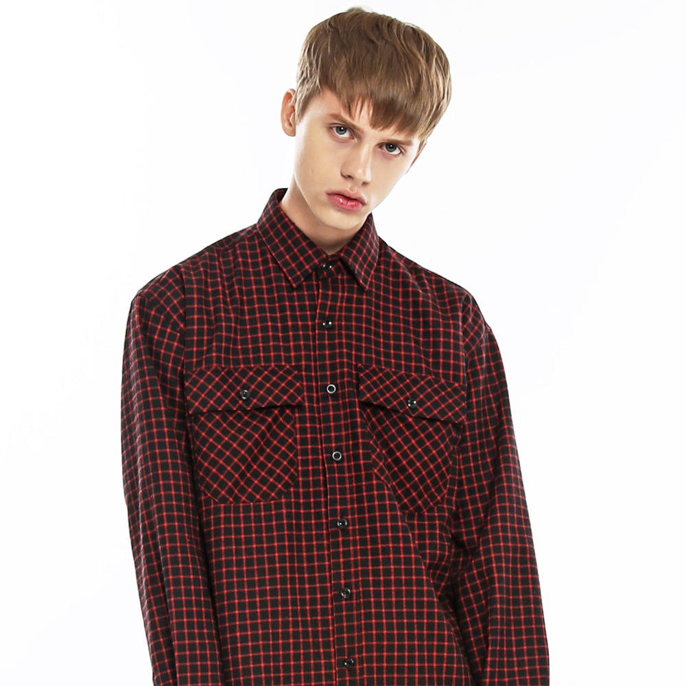 LOOSE FIT CROSS CHECK SHIRT-K BK