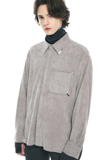 collar & pocket hand work iron tip suede shirt ivory