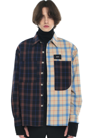 premium check half & half shirt light beige