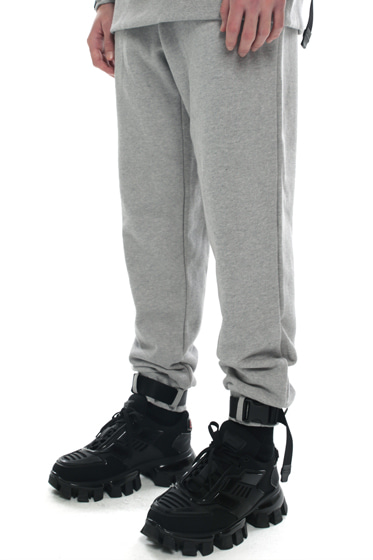webbing belt heavy cotton jogger pants grey