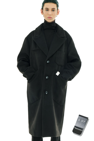 overfit heavy plate wool single coat black