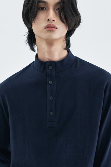 BUTTON UP HALF NECK LONG SLEEVE NEVY