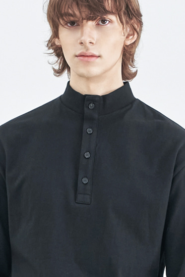 BUTTON UP HALF NECK LONG SLEEVE BLACK