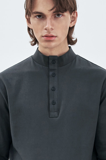 BUTTON UP HALF NECK LONG SLEEVE CHARCOAL